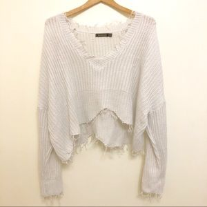 SHEIN white frayed cropped sweater top size 8